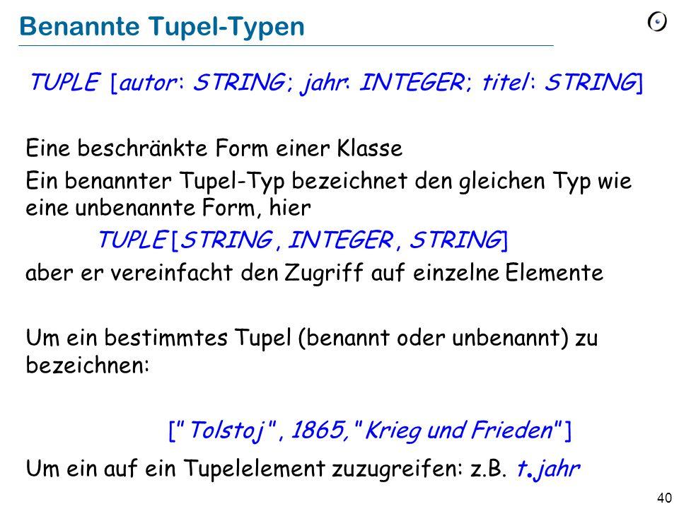 Benannte Tupel-Typen TUPLE [autor : STRING ; jahr: INTEGER ; titel : STRING] Eine beschränkte Form einer Klasse.